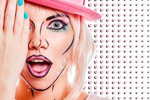 Girl surprised. Pop art background