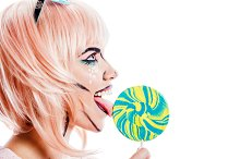 Girl holding lollipop. Pop art