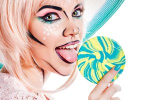 Girl and lollipop. Pop art style