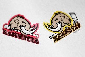 Modern professional mammoths logo