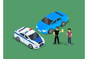 Isometric Police Fines Car