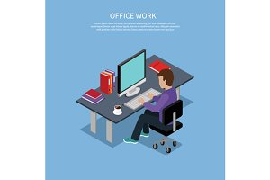 Isometric Man Office Work Interior
