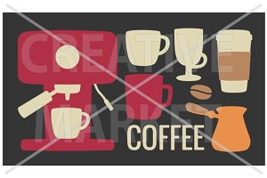 Set coffee icon. Coffee mashine, cup