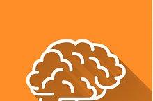 Human brain, simple white icon
