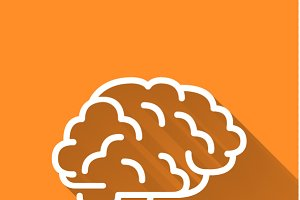 Human brain, simple white icon
