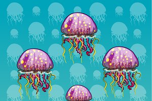 Set of color spotted jellyfish