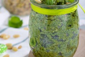 Pesto sauce with pine nut parmesan cheese and basil