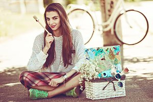 art stylish hipster woman keep brush outdoor portrait