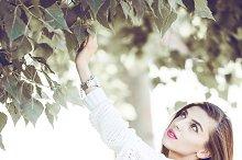 art stylish hipster woman keep brush outdoor portrait