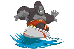 Funny monkey surfer