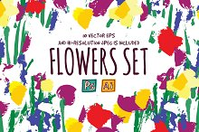 Flowers painting vector set