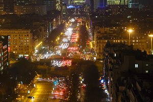 Night Paris view, France.