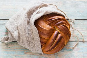 Fresh loaf of bread with cinnamon