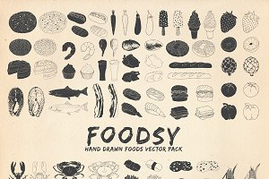 Foodsy : 100 Hand Drawn Foods Vector