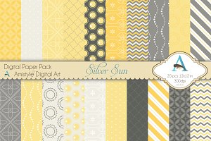 Silver Sun Digital Paper Set