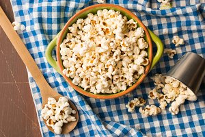 Home made popcorn in a bowl