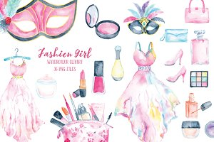 Watercolor Fashion Girl Cosmetics