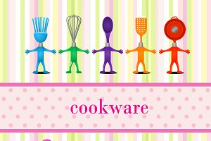 Kitchen cookware with space for text