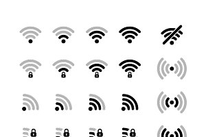 Set of different wifi black icons