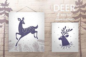silhouette Deer stylized