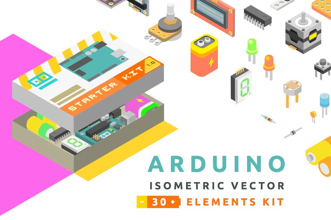 Isometric vector arduino starter kit icons creative market