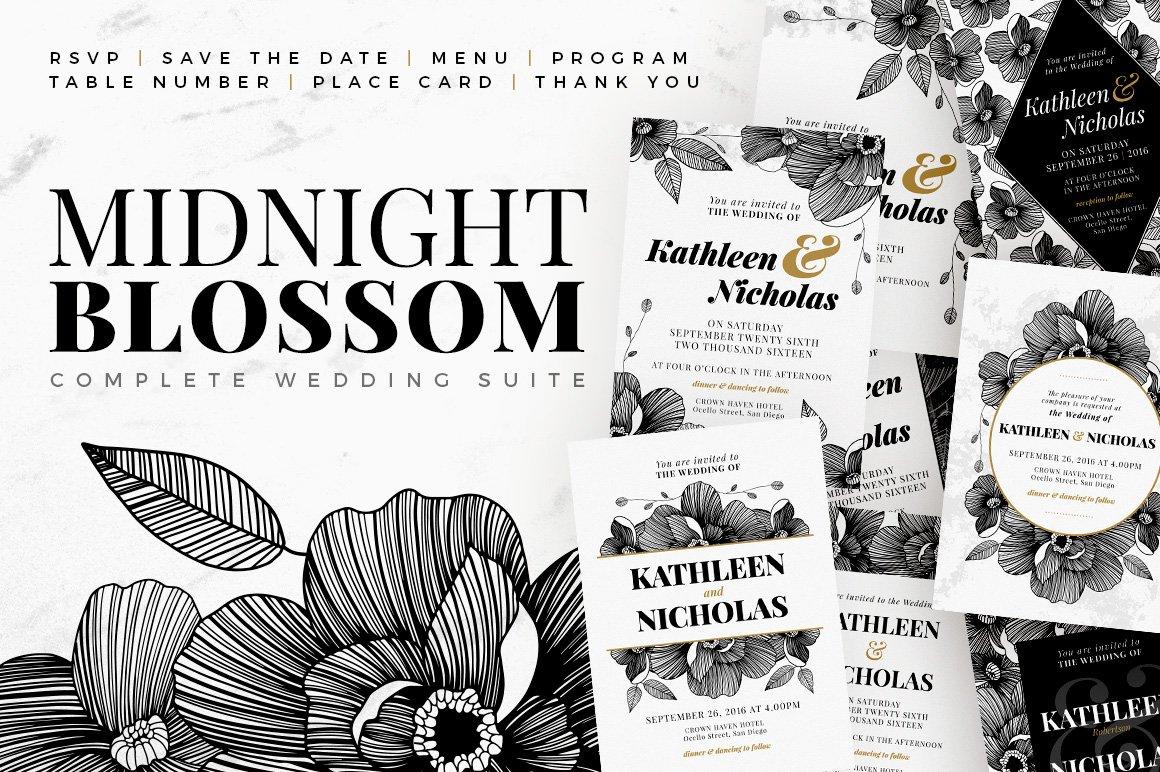 Midnight Blossom - Wedding Suite ~ Invitation Templates ~ Creative ...