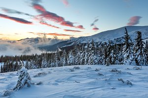Sunrise winter mountain.