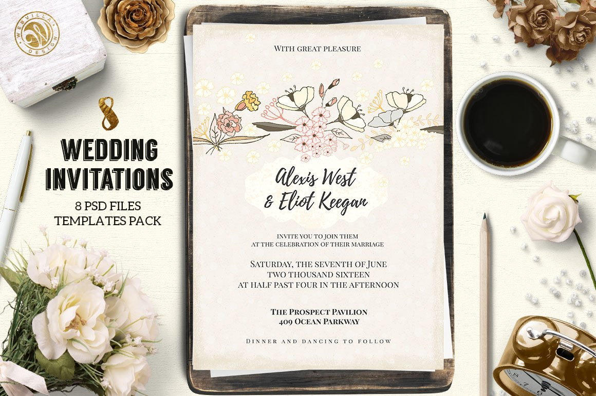 8 wedding invitations pack invitation templates creative market stopboris Images