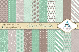 Mint & Chocolate Digital Paper Set
