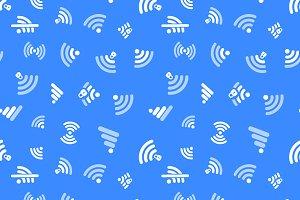 White WiFi icons on blue