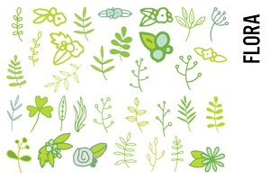 Flora Clipart - Leaves and Flowers