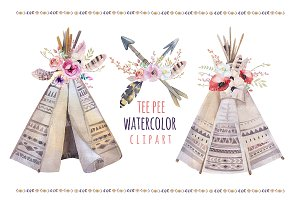 Watercolor boho teepee & bouquets