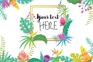Tropical Flower Clipart Set