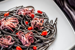 Pasta with black cuttlefish ink