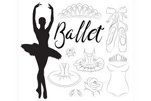Ballet icon set