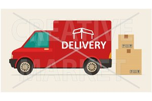 Red delivery van and boxes