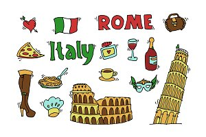 Italy doodle set
