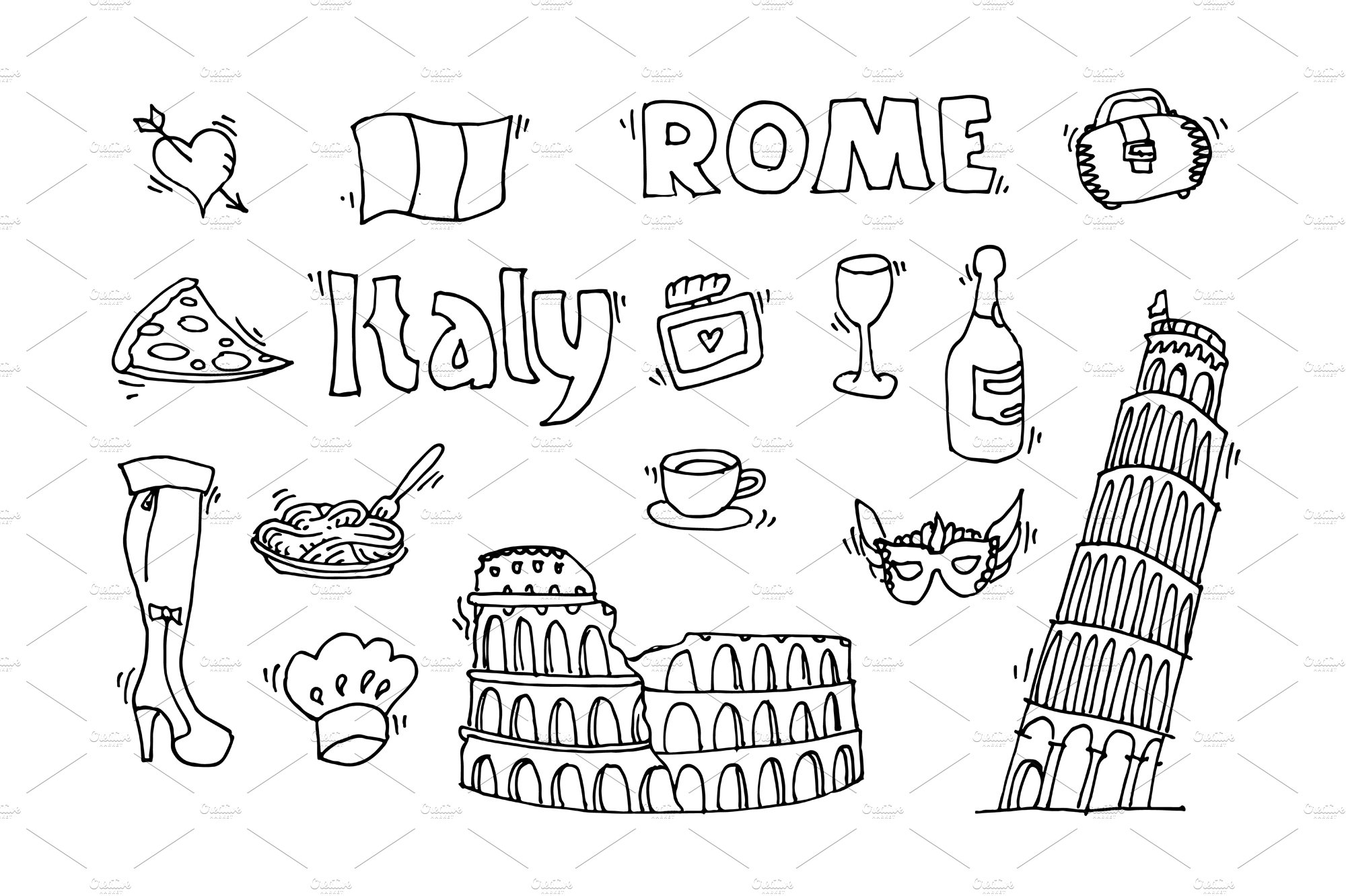 Italy doodle set ~ Illustrations ~ Creative Market