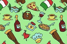 Italy doodle set pattern