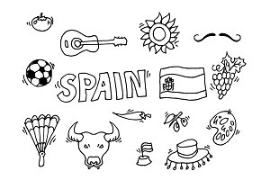Spainish landmark, Spain vector map ~ Graphic Objects ...