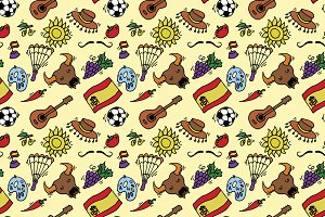 doodles symbols pattern of Spain