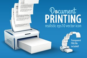 Printer printing copies of text to paper with copyspace