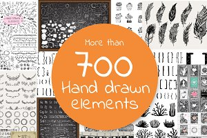 Hand drawn elements bundle