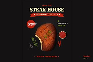 Steak house poster design
