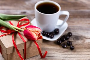 Flower and gift with coffee