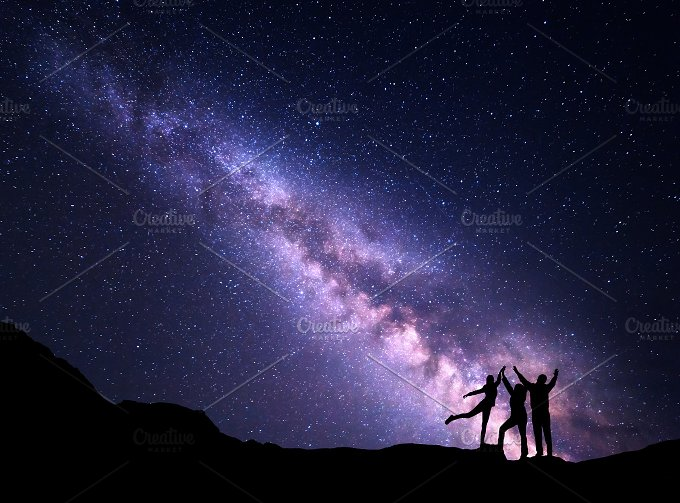 Milky Way. Silhouette of a family - Nature