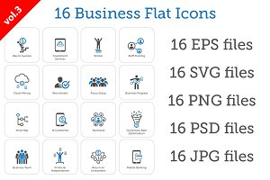 16 Business Flat Icons Set vol.3