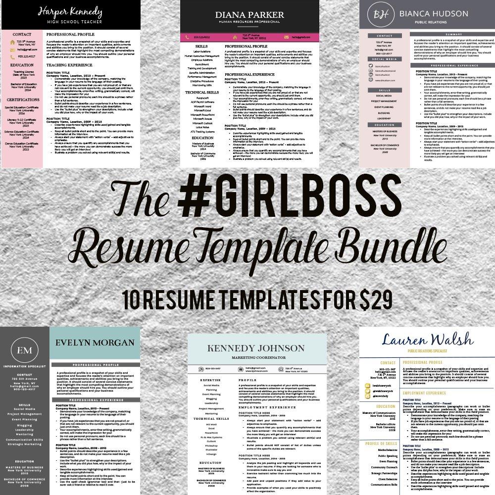 resume template bundle girlboss resume templates creative market