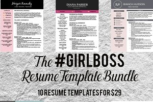 Resume Template Bundle - #girlboss