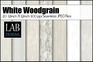 20 White Seamless Woodgrain Textures